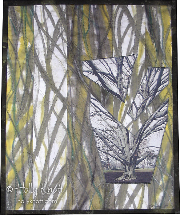 Copper Beech Abstract - a painted and photo art quilt by Holly Knott