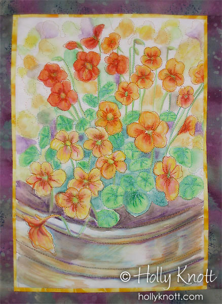 Nasturtiums, painted art quilt by Holly Knott