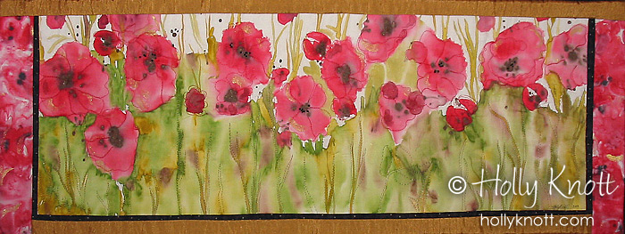 Poppies quilt - hand painted art quilt by Holly Knott