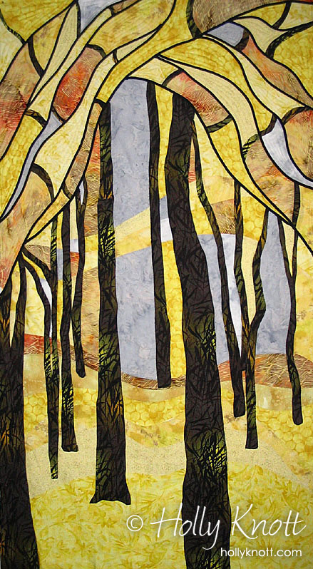 Stained glass type art quilt by Holly Knott