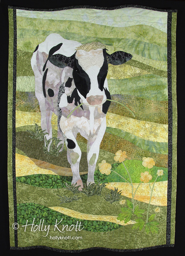 art quilt of a cow in a field by Holly Knott