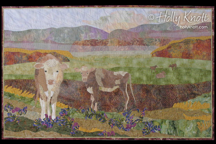art quilt of cows in a foggy landscape, by Holly Knott