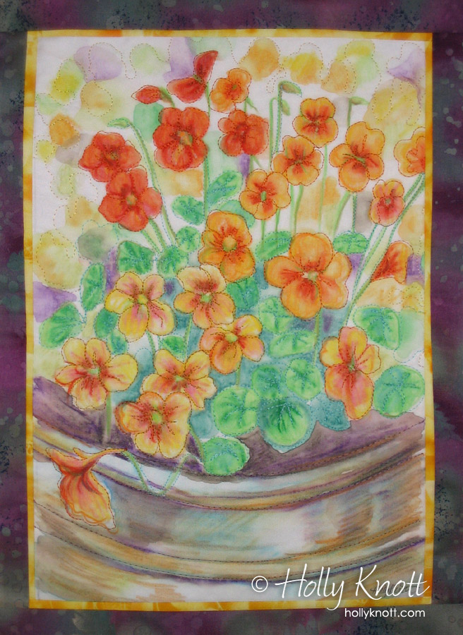 painted art quilt of flowers by Holly Knott