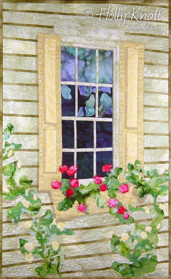 New Hope, PA, window - art quilt by Holly Knott