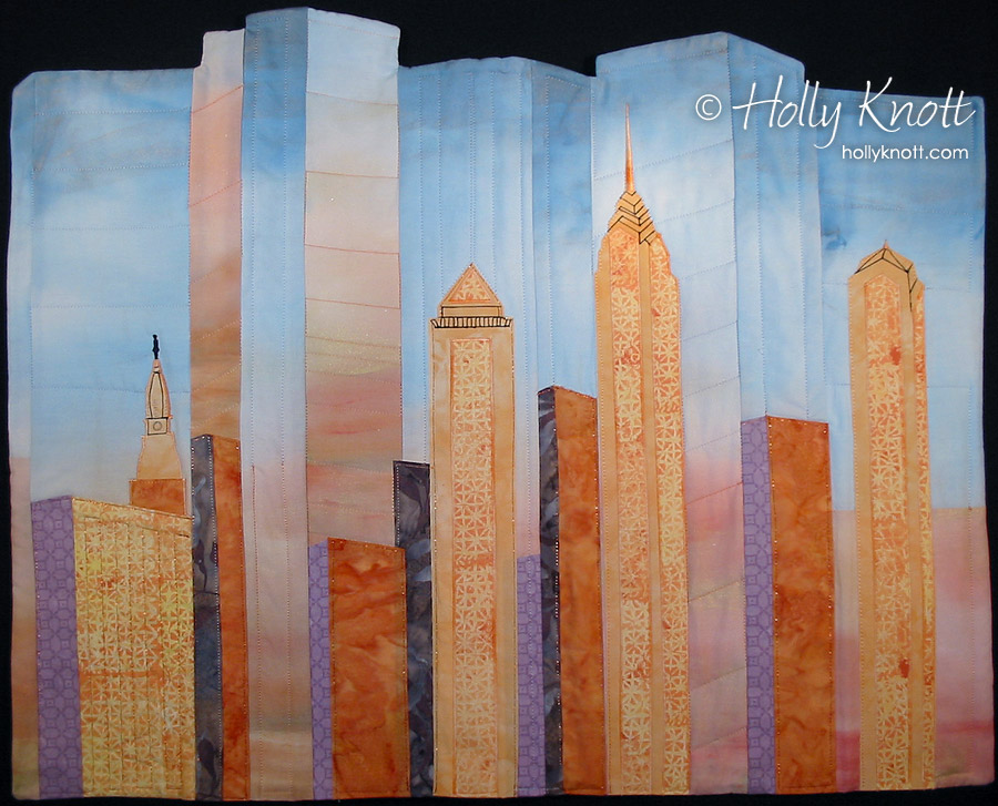 An art quilt inspired by the Philadelphia skyline, by Holly Knott