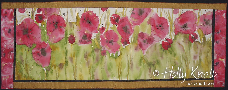 painted art quilt of poppies