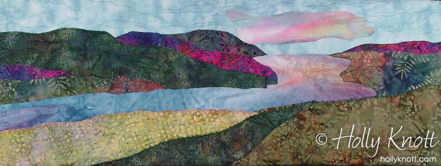Art quilt of Skaneateles Lake in the Finger Lakes, by Holly Knott