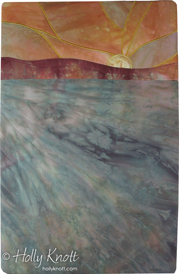 hand dyed fabric art quilt of a sunrise by Holly Knott
