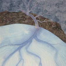painted art quilt of an old apple tree in the snow, by Holly Knott