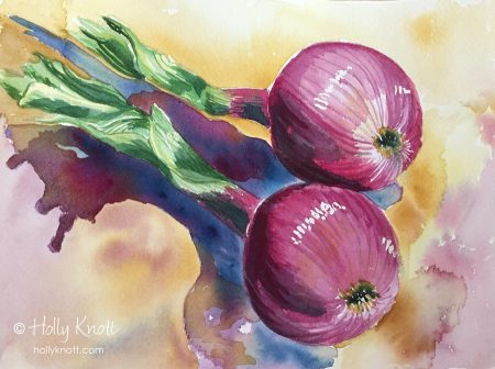 watercolor painting of red onions
