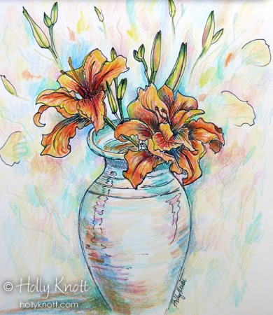 Orange Daylilies by Holly Knott