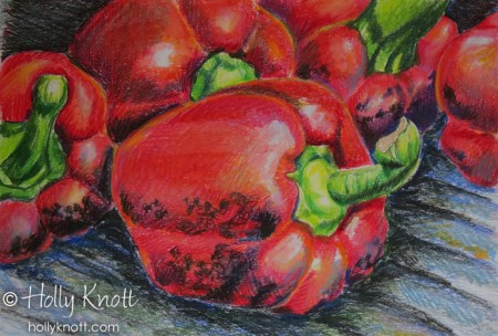 colored pencil illustration of peppers