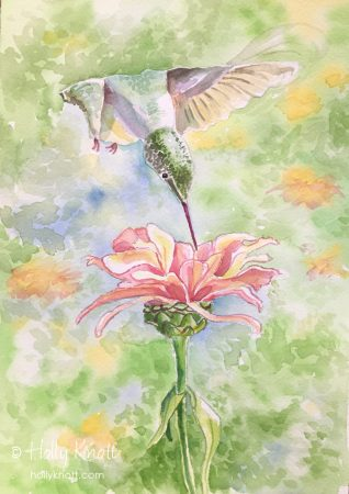 Holly Knott - painting of hummingbird