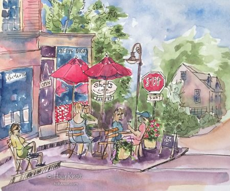 sketch of outdoor cafe scene